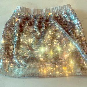 Crewcuts silver sequin skirt